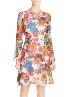 Betsey Johnson Floral Print Chiffon A-Line Dress