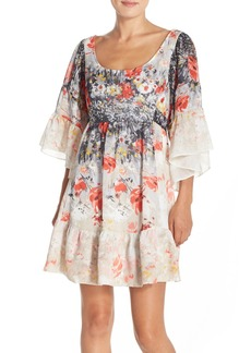 Betsey Johnson Floral Print Chiffon Babydoll Dress