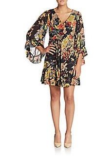 Betsey Johnson Floral-Print Chiffon Dress