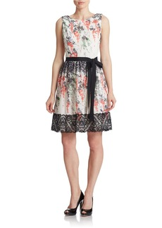 BETSEY JOHNSON Floral Print Chiffon Fit and Flare Dress