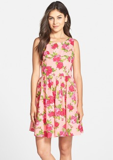 Betsey Johnson Floral Print Cotton Fit & Flare Dress