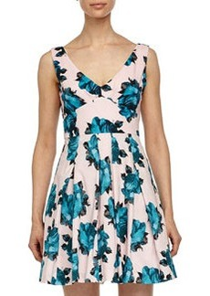 Betsey Johnson Floral-Print Fit-and-Flare Dress, Petal/Blue