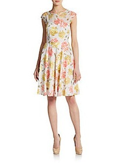 Betsey Johnson Floral-Print Illusion Panel Dress