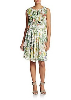 Betsey Johnson Floral Print Keyhole Blouson Dress