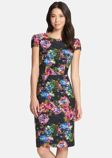 Betsey Johnson Floral Print Lace Sheath Dress
