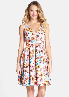 Betsey Johnson Floral Print Scuba Fit & Flare Dress