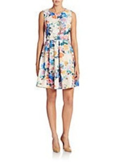 BETSEY JOHNSON Floral Print Scuba Fit and Flare Dress