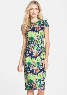 Betsey Johnson Floral Print Scuba Midi Sheath Dress