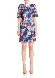 BETSEY JOHNSON Floral Print Scuba Shift Dress