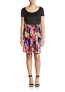 Betsey Johnson Floral-Print Solid-Bodice Scuba Dress