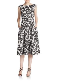 Betsey Johnson Floral-Print Tea-Length Dress