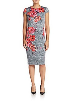 Betsey Johnson Floral-Print Tweed Dress