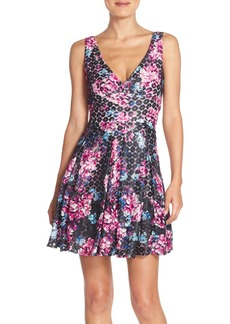 Betsey Johnson Floral Print V-Neck Fit & Flare Dress