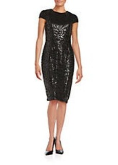 BETSEY JOHNSON Floral Sequined Sheath Dress