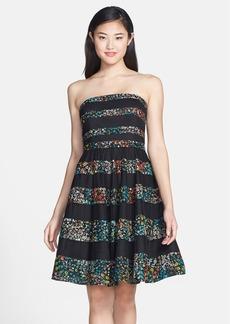Betsey Johnson Floral Stripe Fit & Flare Dress