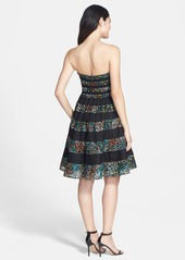 Betsey Johnson Floral Stripe Fit & Flare Dress