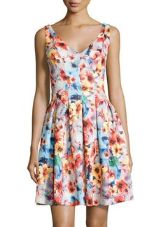 Betsey Johnson Floral V-Neck Pleated Sleeveless Dress