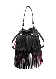 BETSEY JOHNSON Fringed Faux Leather Bucket Bag