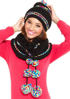 Betsey Johnson Funfetti Pom Pom Snood Scarf