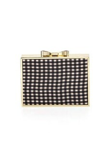 Betsey Johnson Gingham Bow Frame Evening Clutch, Black/White