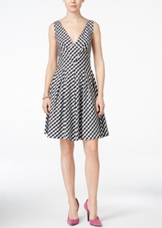 Betsey Johnson Gingham V-Neck Fit & Flare Dress