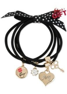 Betsey Johnson Gold-Tone Black Stretch Charm Bracelets