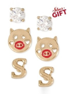 Betsey Johnson Gold-Tone Initial Stud Earrings Set