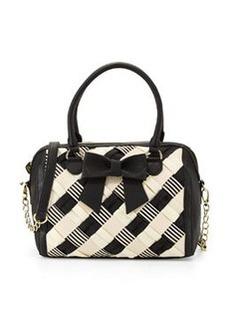 Betsey Johnson Grosgrain Woven Bow Duffel Bag, Black/Cream