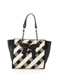 Betsey Johnson Grosgrain Woven Bow Tote Bag, Black/Cream