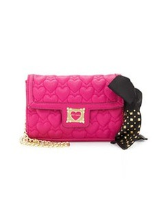 Betsey Johnson Heart-Quilted Crossbody Bag, Pink