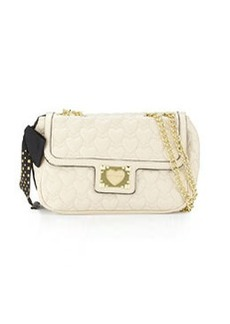Betsey Johnson Heart-Quilted Shoulder Bag, Cream