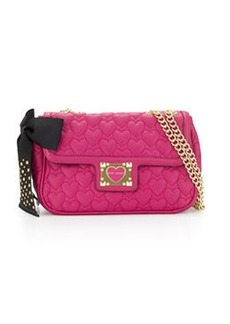 Betsey Johnson Heart-Quilted Shoulder Bag, Pink