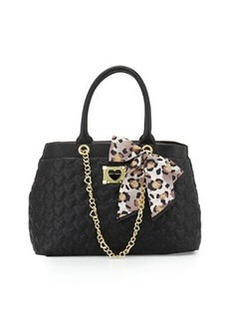 Betsey Johnson Heart-Quilted Tote Bag, Black