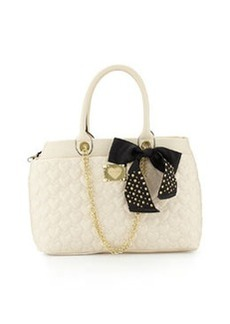 Betsey Johnson Heart-Quilted Tote Bag, Cream