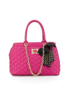 Betsey Johnson Heart-Quilted Tote Bag, Pink