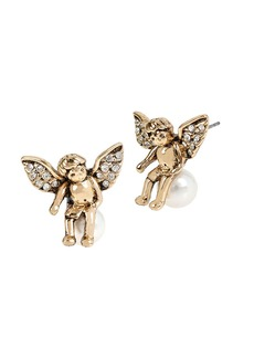 BETSEY JOHNSON Heaven Sent Angel Faux Pearl Stud Earrings