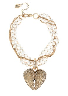 BETSEY JOHNSON Heaven Sent Faux Pearl Heart Pendant Necklace