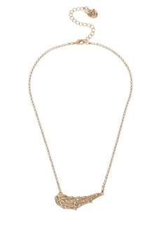 BETSEY JOHNSON Heaven Sent Pave Wing Pendant Necklace