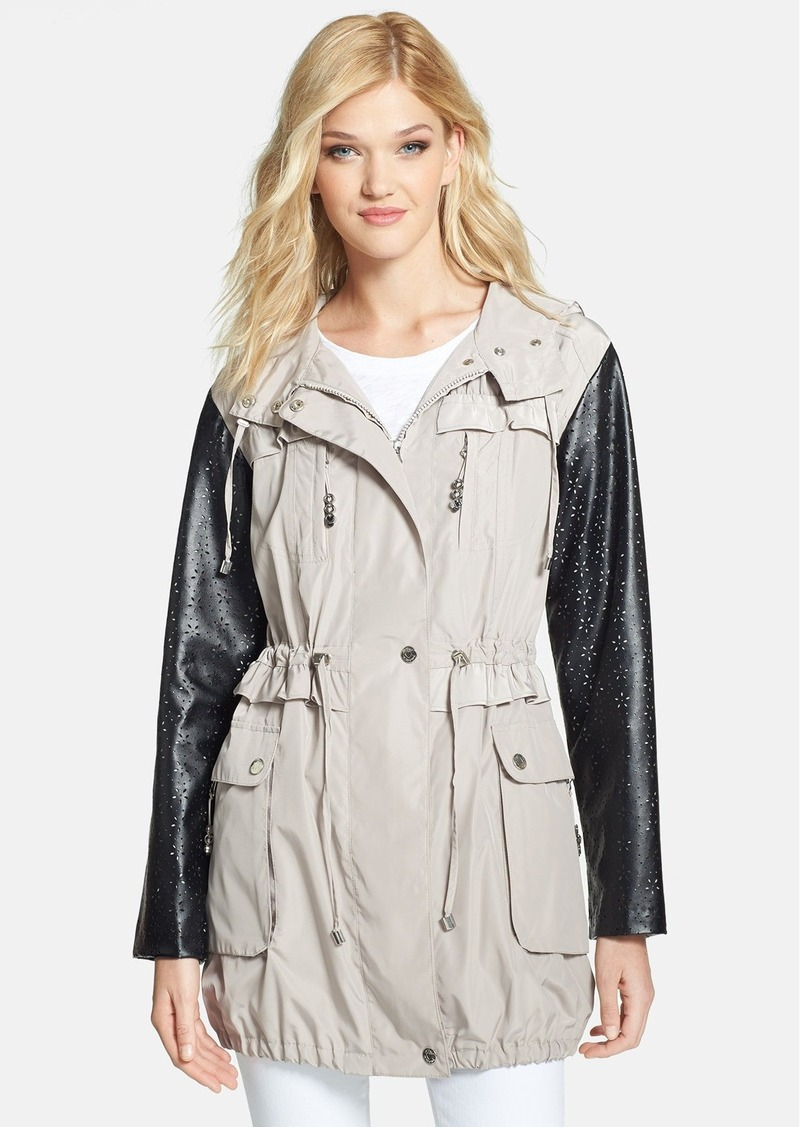 Betsey Johnson Hooded Anorak with Perforated Faux Leather Sleeves