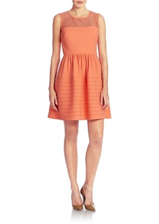 BETSEY JOHNSON Illusion Neckline Fit and Flare Dress