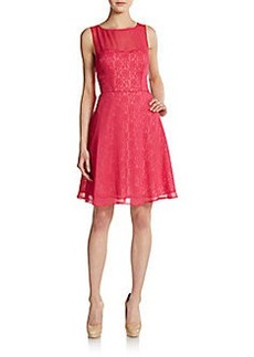 Betsey Johnson Illusion Overlay Flare Dress