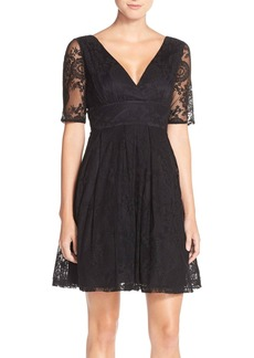 Betsey Johnson Illusion Sleeve Lace Fit & Flare Dress