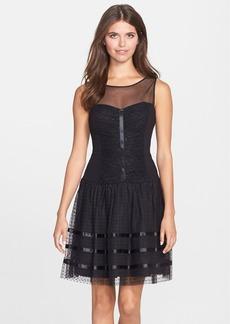 Betsey Johnson Illusion Yoke Dot Mesh Fit & Flare Dress