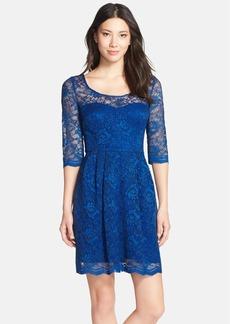 Betsey Johnson Illusion Yoke Lace Fit & Flare Dress
