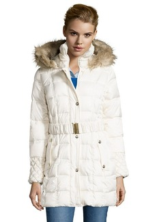 Betsey Johnson ivory box quilted optional belted and hooded ...