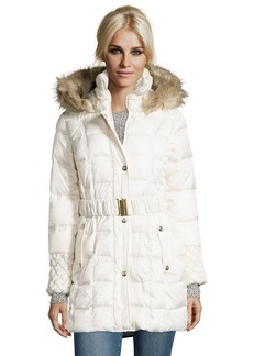 Betsey Johnson ivory box quilted optional belted and hooded jacket