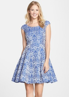 Betsey Johnson Jacquard Cap Sleeve Fit & Flare Dress