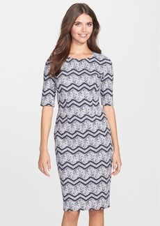 Betsey Johnson Jacquard Knit Midi Sheath Dress