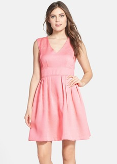 Betsey Johnson Jacquard V-Neck Fit & Flare Dress
