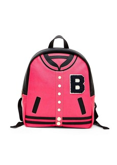 BETSEY JOHNSON Kitsch Letterman Faux Leather Backpack